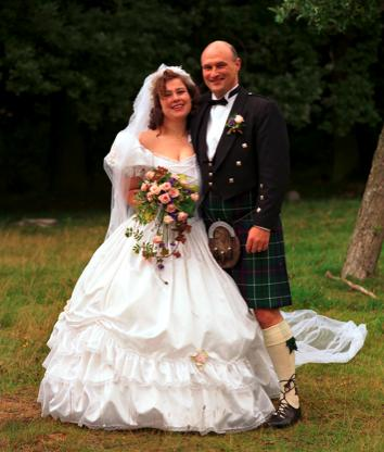 Heike and I at our kilt wedding