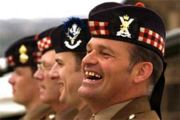 Scottish soldiers wearing their Glengarry caps