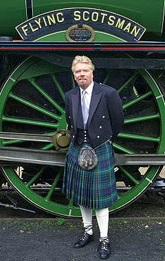 How to wear a kilt, Richard Branson wearing his kilt bac