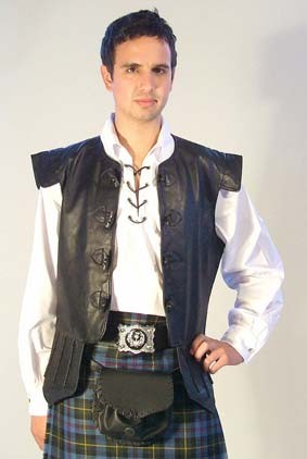 photo of chieftain waistcoat worn with a kilt