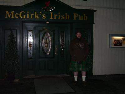 Outside the pub on the first time wearing my kilt , it was 20 degrees & snowing that night