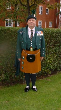 Retired Royal Irish Ranger wearing his Irish- kilt