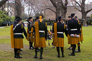 Irish pipe band wearing Irish kilts