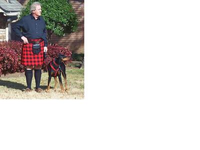 My Rob Roy 5 yard casual kilt and my doberman Diego