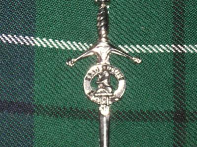 close up of decorative kilt pin