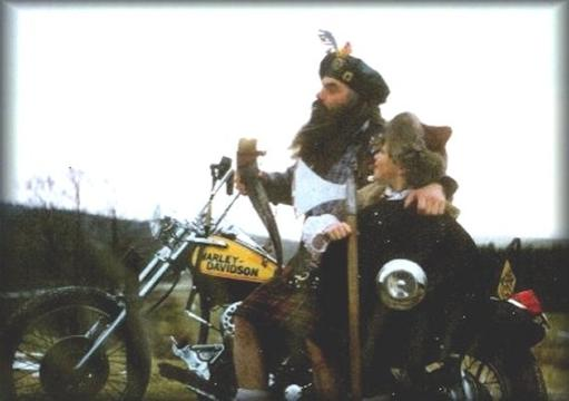 pedro wearing his kilt while riding his motorcycle