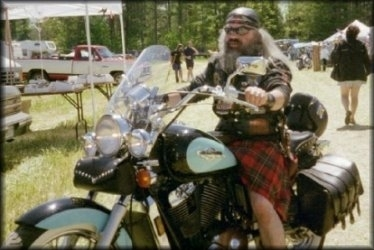 Pedro wearing his kilts on motorcycles