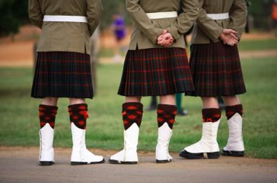 soldiers wearing Regimental Highland Dress