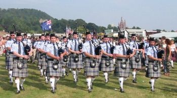 Western Australia police pipe band with their kilts and bagpipes
