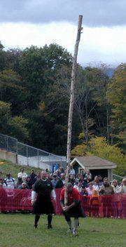 caber tossing at the Highland Games