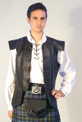 photo of chieftain waistcoat worn with a kilt
