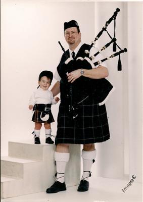Donovan and Papaw sporting kilts